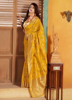 Party Wear Yellow Weaving Silk Saree