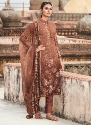 Casual Wear Brown Digital Printed Georgette Straight Suit