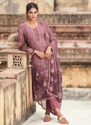 Casual Wear Pink Digital Printed Georgette Straight Suit