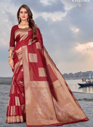 Party Wear Red Weaving Banarasi Silk Saree