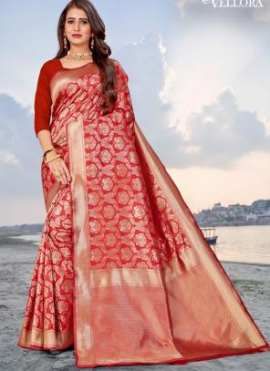 Party Wear Red Weaving Heavy Banarasi Silk Saree