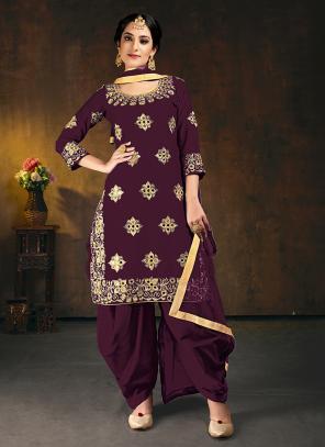 Wedding Wear Purple Mirror Work Soft Silk Patiyala Suit