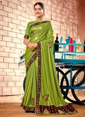 Party Wear Green Zari Work Fancy Saree