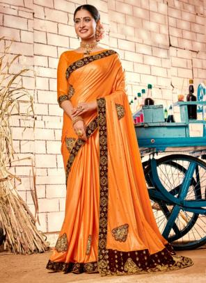 Party Wear Orange Zari Work Fancy Saree