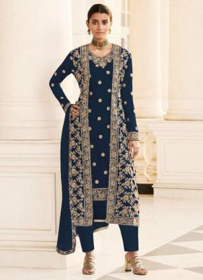 Wedding Wear Navy blue Embroidery Work Georgette Straight Suit
