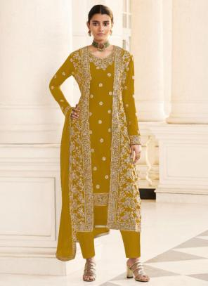 Wedding Wear Olive Green Embroidery Work Georgette Straight Suit