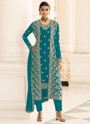 Wedding Wear Sky Blue Embroidery Work Georgette Straight Suit