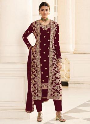 Wedding Wear Wine Embroidery Work Georgette Straight Suit