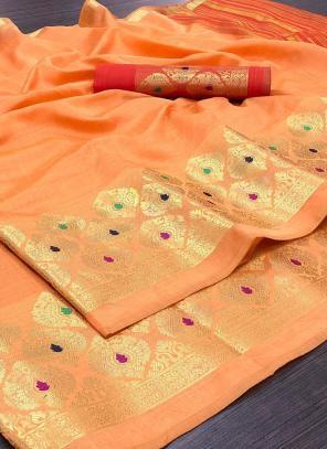 Wedding Wear Orange Weaving Silk Saree