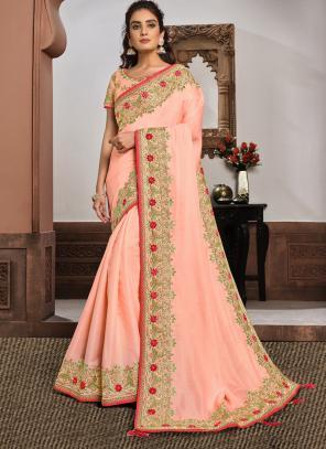 Reception Wear Pink Resham Work Silk Georgette Saree