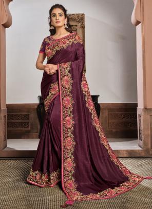 Reception Wear Purple Resham Work Silk Georgette Saree