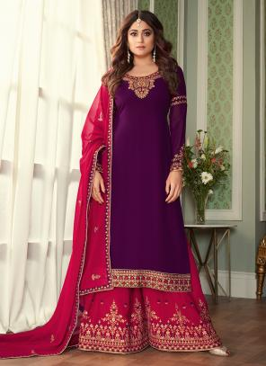 Wedding Wear Purple Embroidery Work Georgette Silk Sharara Suit