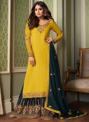 Wedding Wear Yellow Embroidery Work Georgette Silk Sharara Suit