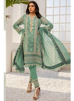 Party Wear Green Embroidery Work Georgette Pakistani Suit