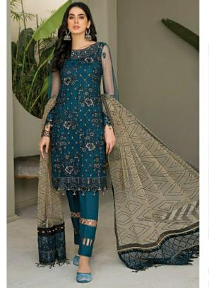 Party Wear Navy blue Embroidery Work Georgette Pakistani Suit