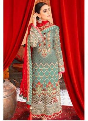 Party Wear Pista Green Embroidery Work Georgette Pakistani Suit
