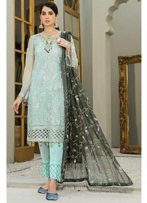 Party Wear Teal Blue Embroidery Work Georgette Pakistani Suit