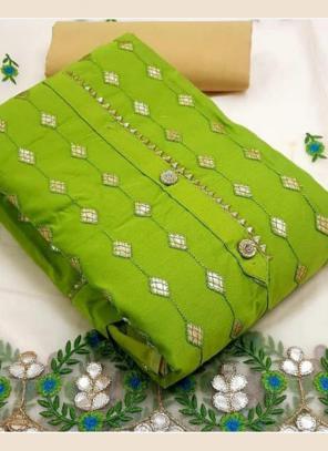 Festival Wear Green Embroidery Work Modal Chanderi Dress Material