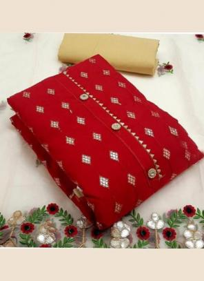 Festival Wear Red Embroidery Work Modal Chanderi Dress Material