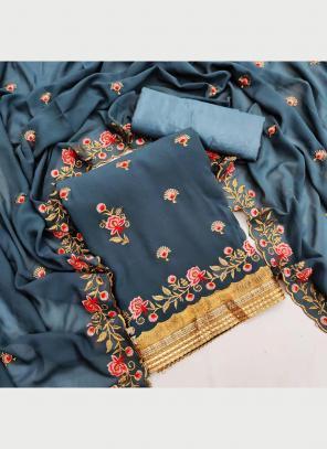Festival Wear Grey Multi Work Georgette Dress Material