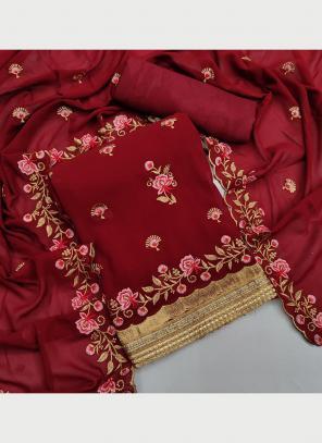 Festival Wear Maroon Multi Work Georgette Dress Material