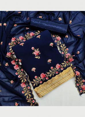 Festival Wear Navy blue Multi Work Georgette Dress Material
