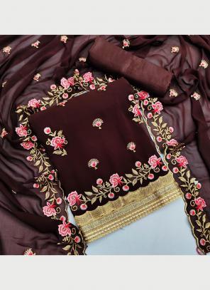 Festival Wear Wine Multi Work Georgette Dress Material