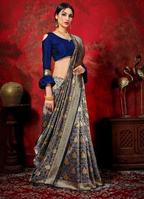 Festival Wear Navy blue Weaving Banarasi Silk Saree