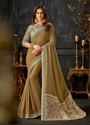 Party Wear Brown Thread Work Silk Saree