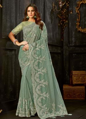 Party Wear Green Foil Printed Work Tissue Saree