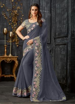 Party Wear Grey Embroidery Work Tissue Saree