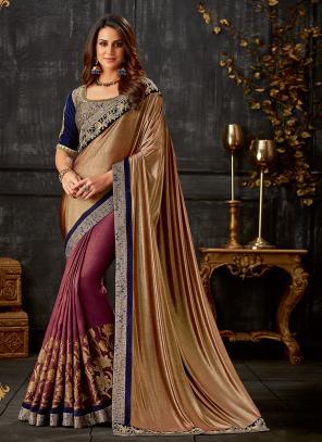 Party Wear Multi Color Cording Work Lycra Saree