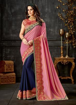 Party Wear Pink Sequins Work Silk Saree