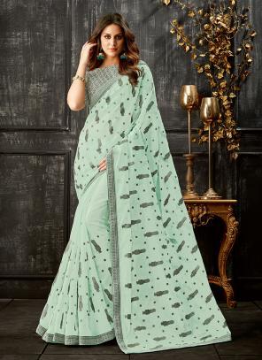 Party Wear Sea Green Thread Work Tissue Saree