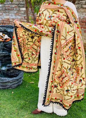 Party Wear Black Chikan Work Cotton Kurti With Dupatta