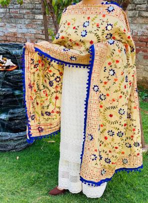 Party Wear Blue Chikan Work Cotton Kurti With Dupatta