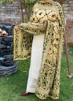 Party Wear Dark Green Chikan Work Cotton Kurti With Dupatta