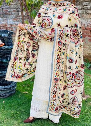 Party Wear Grey Chikan Work Cotton Kurti With Dupatta