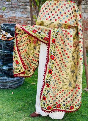 Party Wear Maroon Chikan Work Cotton Kurti With Dupatta