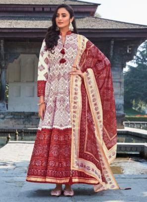 Wedding Wear Cream Digital Printed Killer Silk Gown With Dupatta