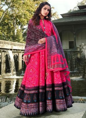 Wedding Wear Dark Pink Digital Printed Killer Silk Gown With Dupatta