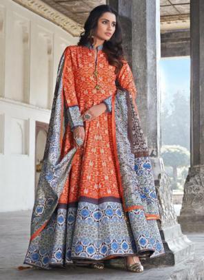 Wedding Wear Orange Digital Printed Killer Silk Gown With Dupatta
