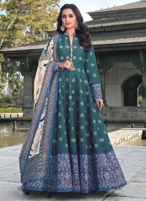 Wedding Wear Rama Green Digital Printed Killer Silk Gown With Dupatta