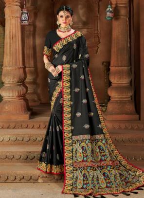 Wedding Wear Black Weaving Silk Saree