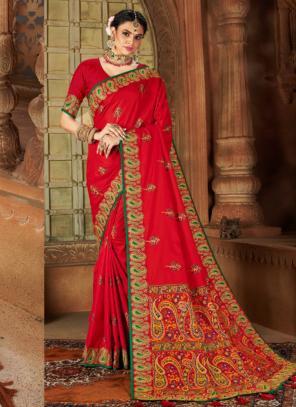 Wedding Wear Rani Weaving Silk Saree
