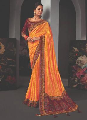 Reception Wear Orange Border Work Fancy Saree