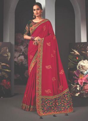 Reception Wear Rani Border Work Fancy Saree