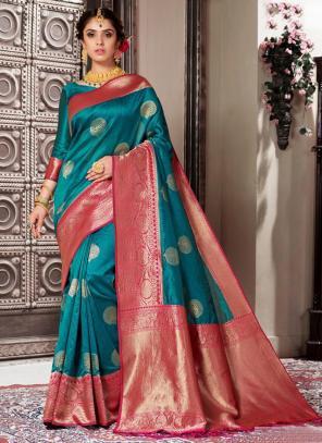 Wedding Wear Blue Weaving Banarasi Silk Saree