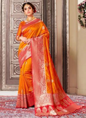 Wedding Wear Orange Weaving Banarasi Silk Saree