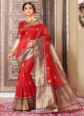 Wedding Wear Red Weaving Banarasi Silk Saree